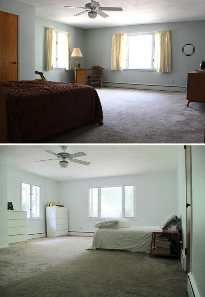 The master bedroom, primed. Comparing the day of our home inspection with present day.