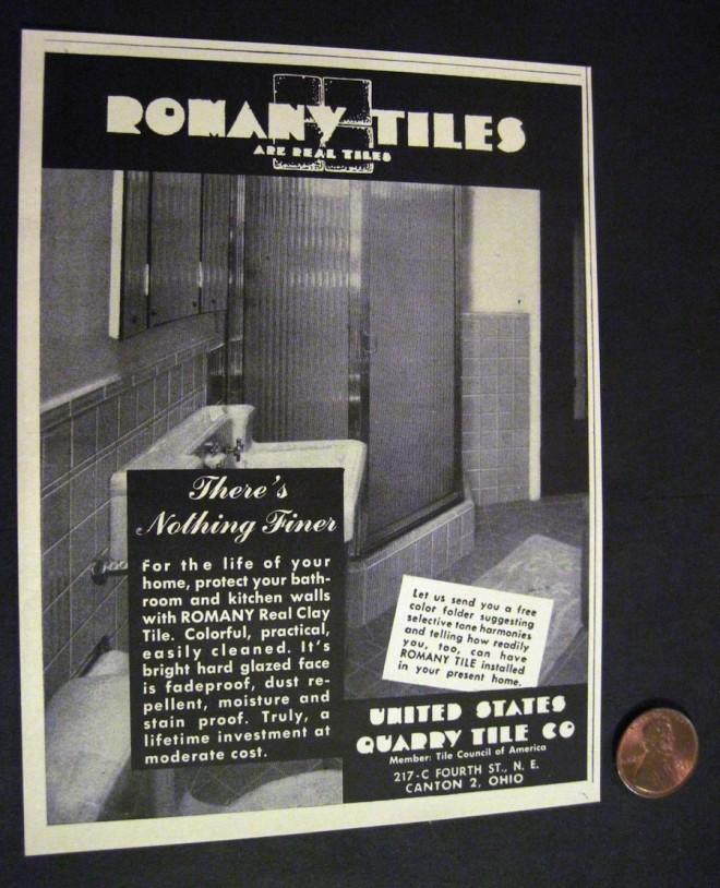 Romany tiles ad, circa 1950.