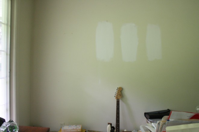 Sampling white paint options for our mid-century home.