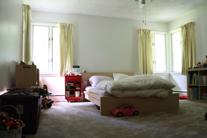 Julia's bedroom, August 2013. Still very much a blank slate.