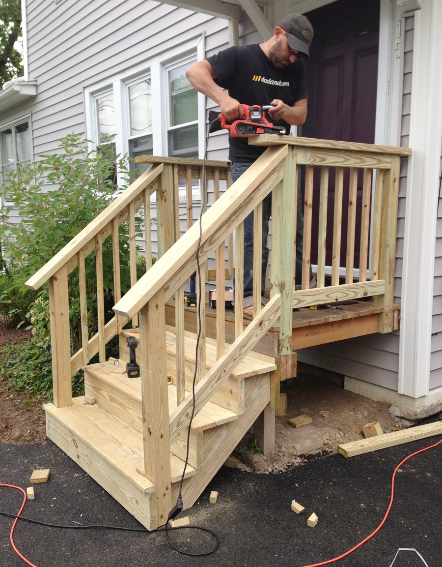 Build Wood Deck Stairs And Landing: How To Rebuild Front Stairs