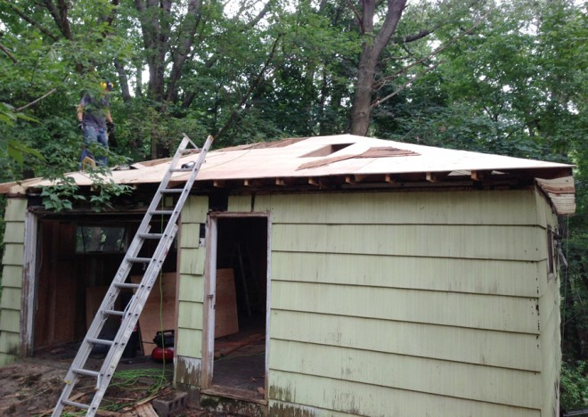 Almost finished installing the plywood on the roof.