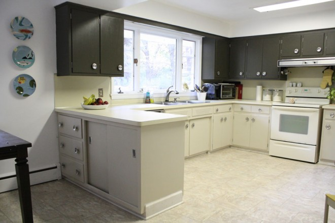 Painted cabinets in a mid-century kitchen.