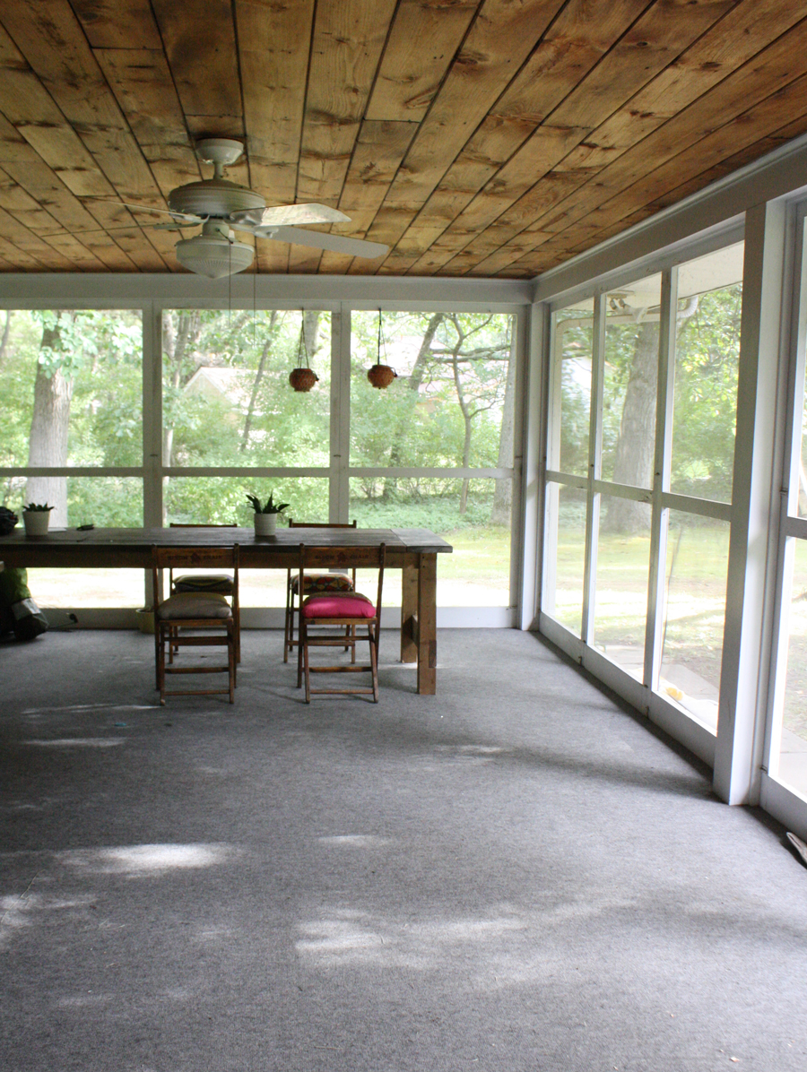 Our screened in porch is the perfect summertime workspace.