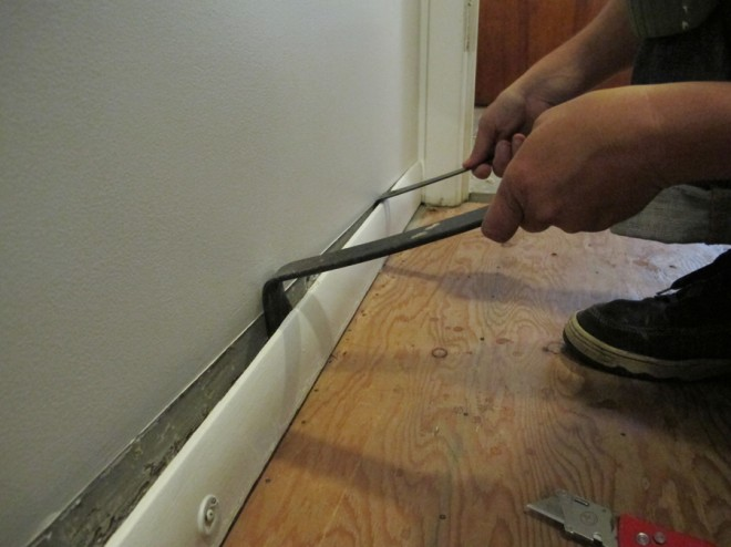 Removing baseboard trim throughout the house with a few pry bars..