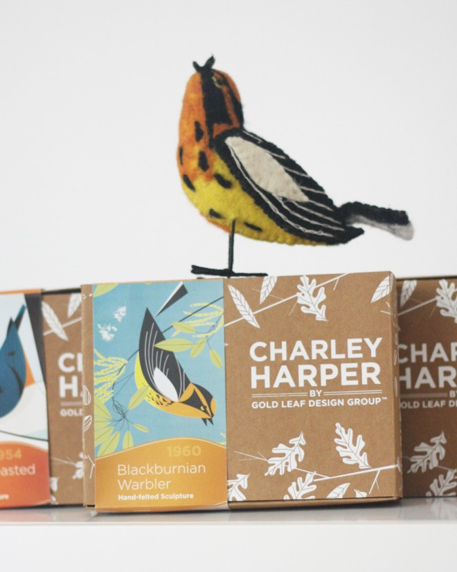 Charley Harper wool bird, the Blackburnian Warbler.