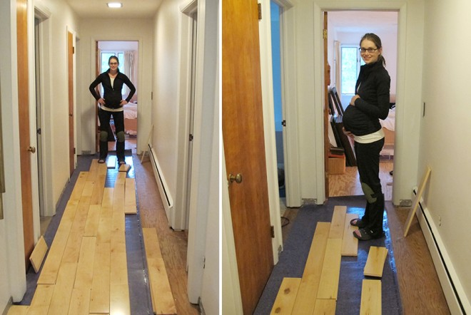 Installing hardwood flooring while 9 months pregnant.
