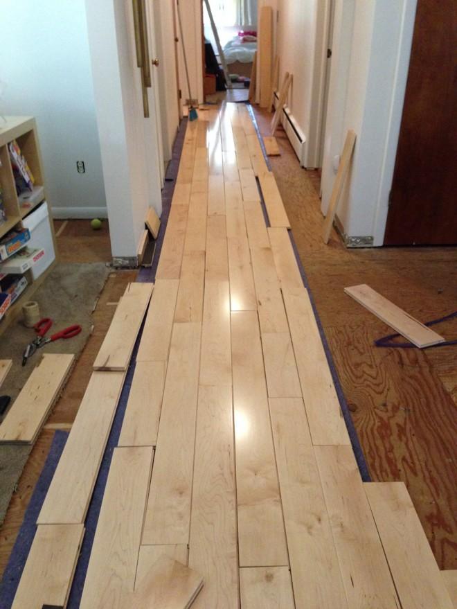Floorboard racking in the hallway.