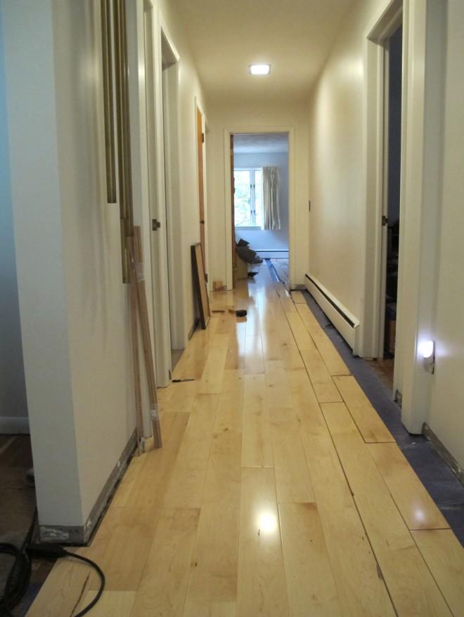 Maple floors in the hallway.