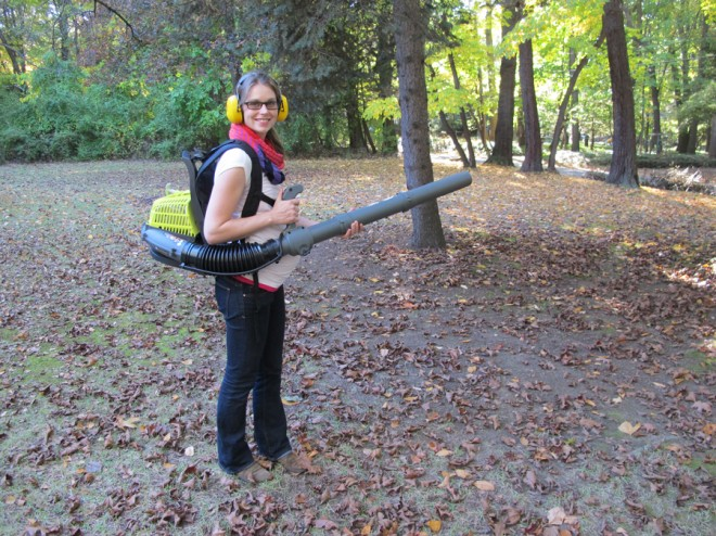 Me, and my best friend, the leaf blower. Making fall lawn maintenance more fun, every day.