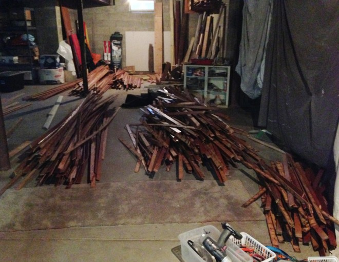 Floorboard stash in the basement. Oak to be salvaged!