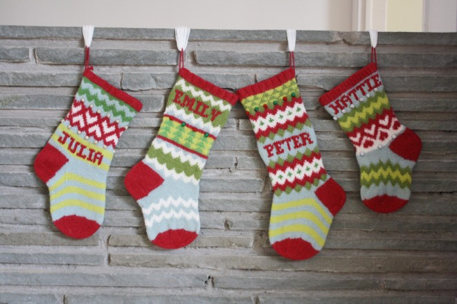 Handmade wool Christmas stockings by Erin Makes Stuff.