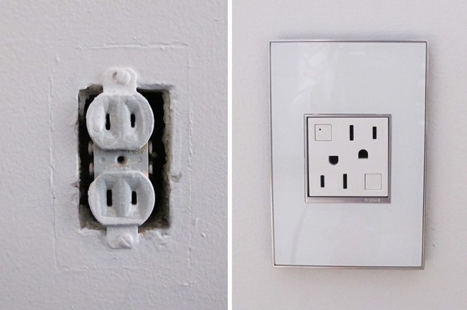 Before and After: Updating our home with Legrand Adorne outlets and mirror white wall plates