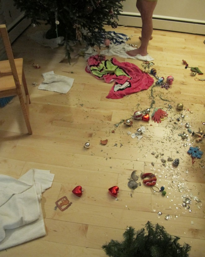 Whoops, our first-ever fallen Christmas Tree tragedy.