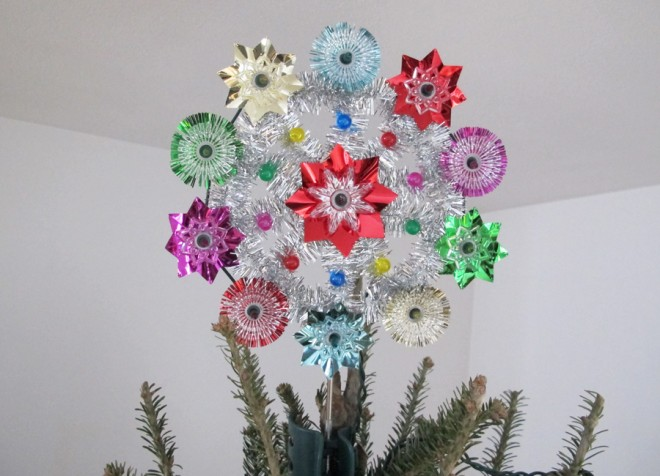 Our not-so Vintage tree topper from Target is the perfect throwback for our mid-century home.