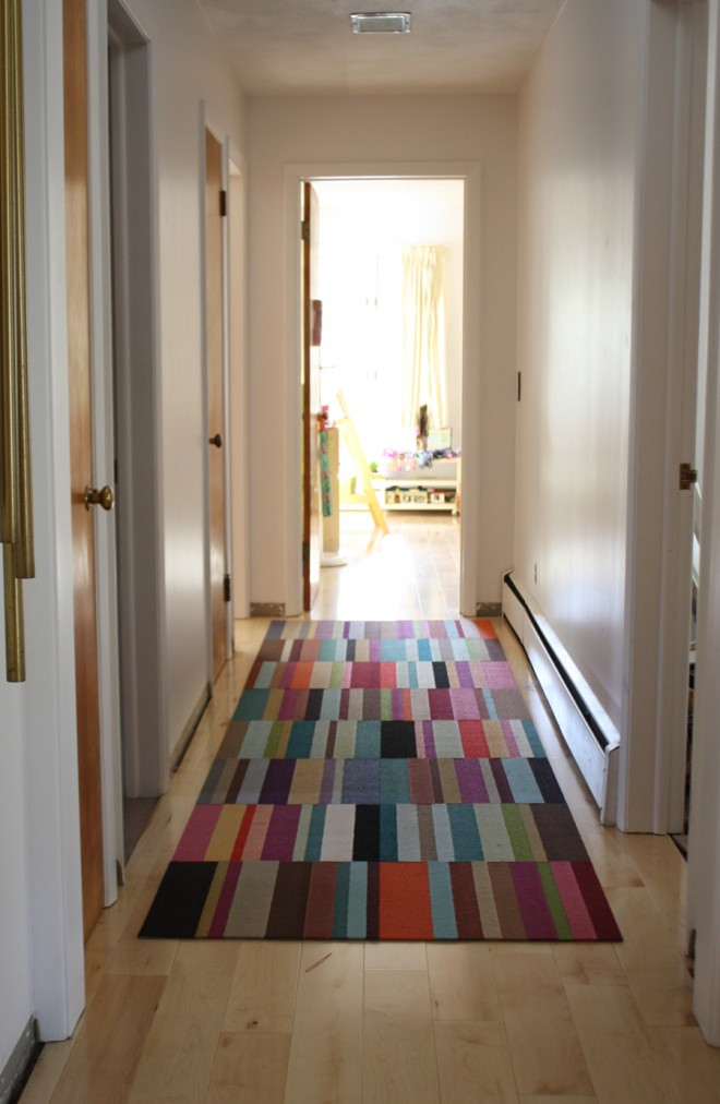 Our new FLOR Parallel Reality carpet runner in the hallway.
