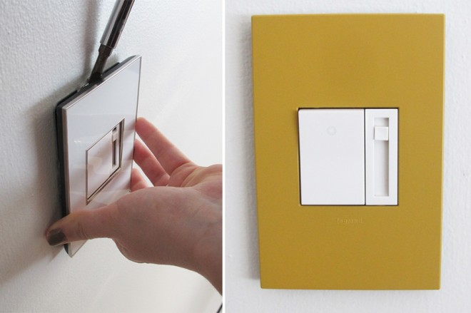 Installing a new honey colored wall plate from the Legrand adorne line.