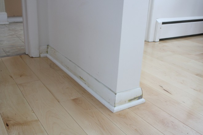 Baseshoe installed on the existing trim.