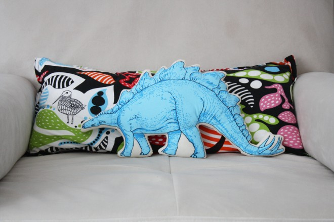 Dinosaur pillow bought at Brooklyn Renegade Craft Fair in 2013.