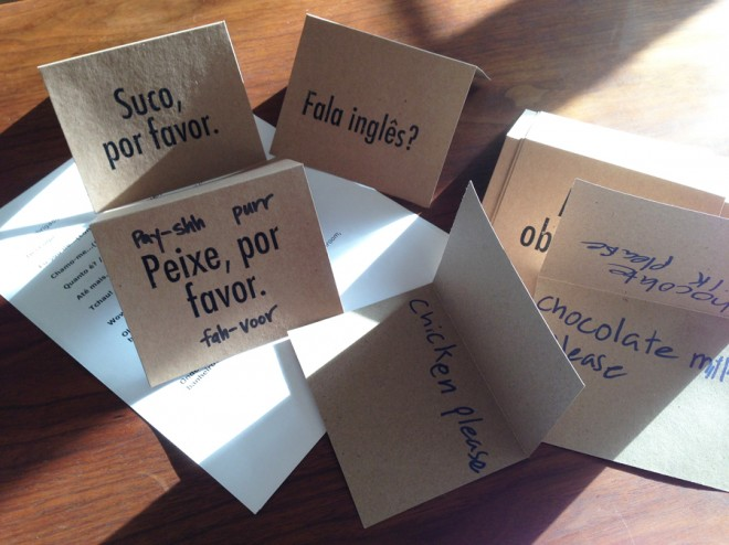 Homemade portuguese flash cards.