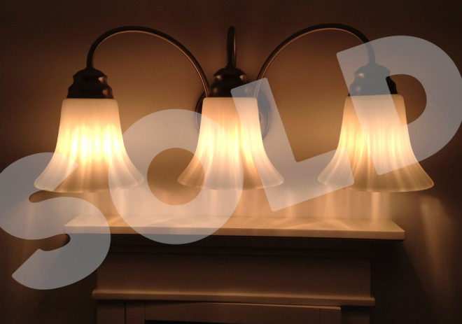 Bathroom light fixture, upgraded and sold!
