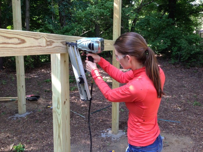 Using hot dipped galvanized nails and the framing nailer to construct our treehouse.