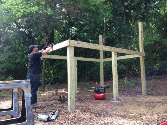 Framing out the treehouse.