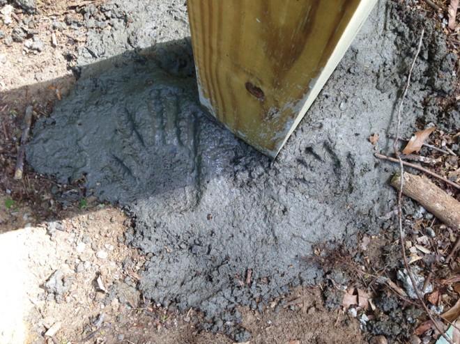 Handprints in cement.
