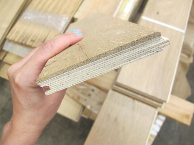 Engineered flooring samples at Pioneer Millworks.
