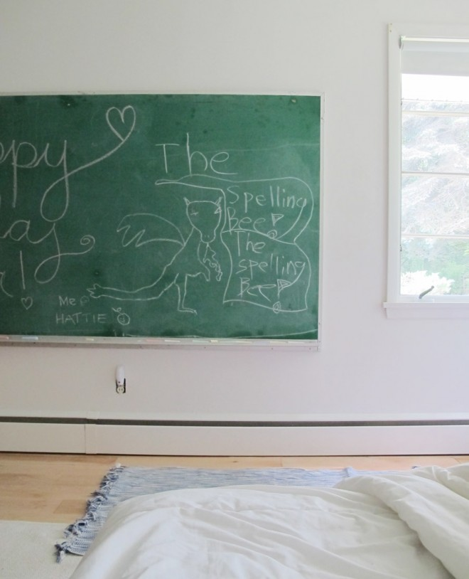 A vintage school chalkboard for our kid's bedroom.