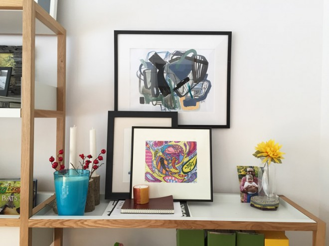 Jaime Derringer/Julia art + classic black Nielsen frames