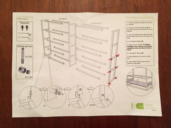 Assembly instructions for the Lap Shelving System.