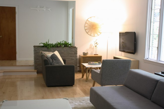 A small, cozy second seating area in our sunken living room.