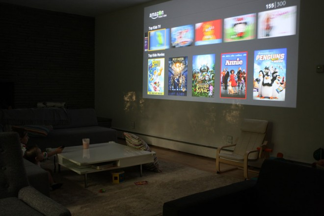 Living room wall projection.