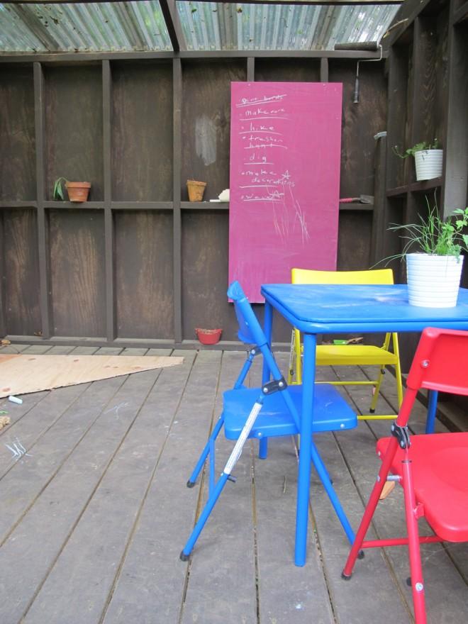 Chalkboard in the treehouse.