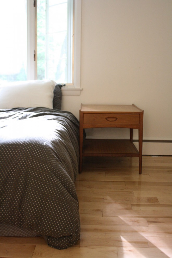 Upgrading our small bedside table to a larger scaled mid-century table that's a better sized for our king size bed.