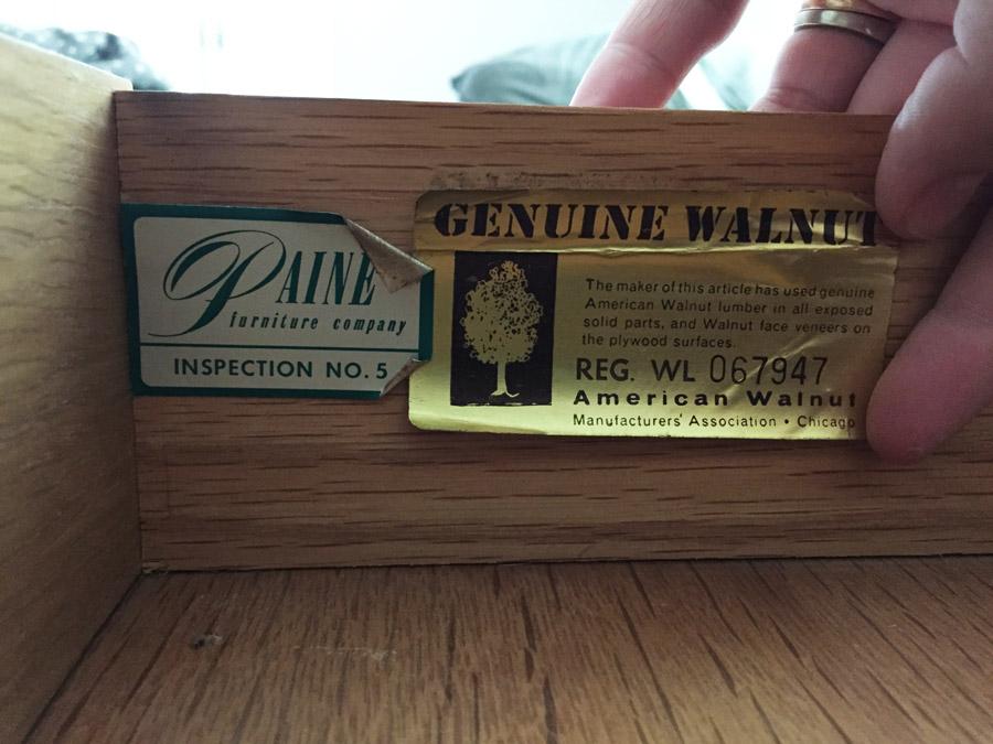 Paine Furniture Midcentury Sticker U2013 Genuine Walnut