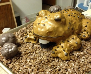 A DIY frog cake made from Rice Krispie Treats and homemade fondant.