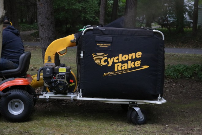 Cyclone Rake in action.
