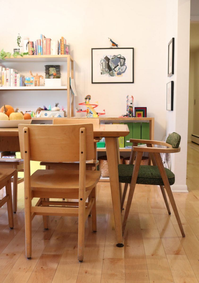 Midcentury Library Table Used As A Dining Room