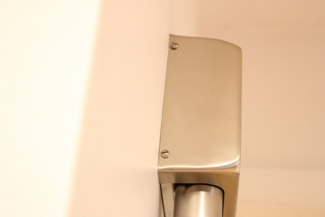 Installing an Atomic Age Doorbell Chime, Brushed Nickel.
