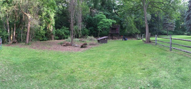Backyard panorama – we've cleared so much brush.