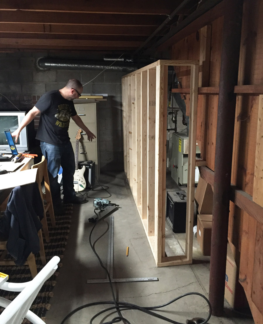 how we built the basement art room merrypad rh merrypad com Framing Basement Walls Vapor Barrier Framing Basement Walls Vapor Barrier