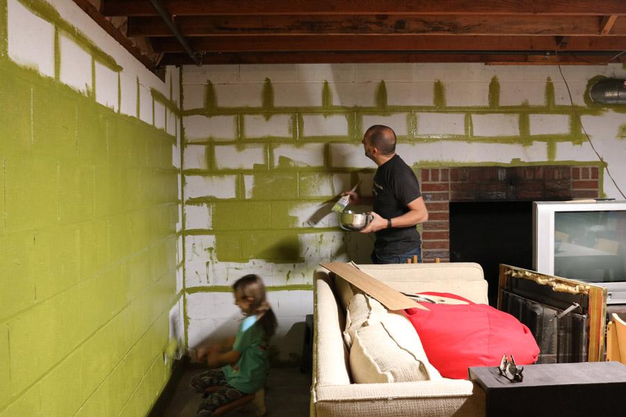 How we built the basement art room merrypad for Cinder block basement