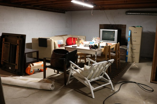 Primed basement art studio.