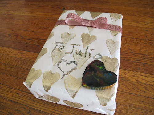 Use potato stamps to make custom wrapping paper.