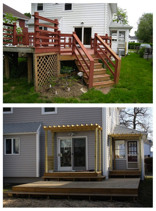 Before and after modern deck transformation.
