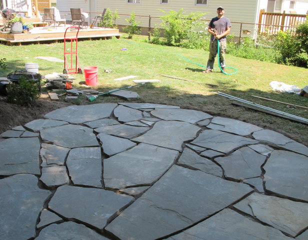 My husband Pete, an awesome DIYer and Maker. He helped me install a flagstone patio.