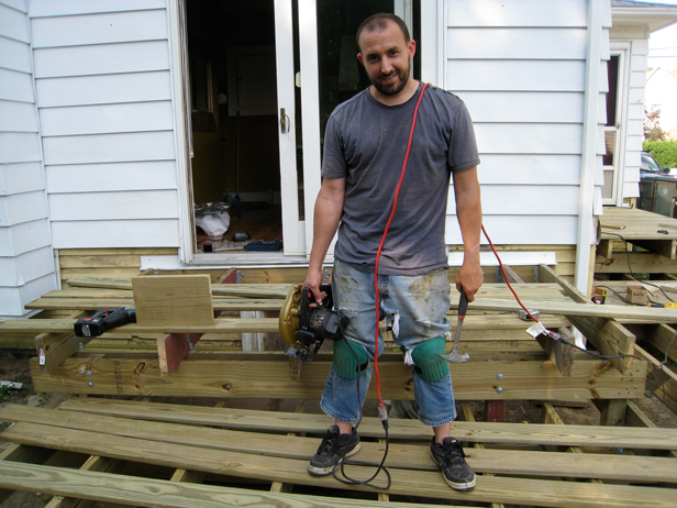 My husband Pete, an awesome DIYer and Maker. He helped me build my deck.