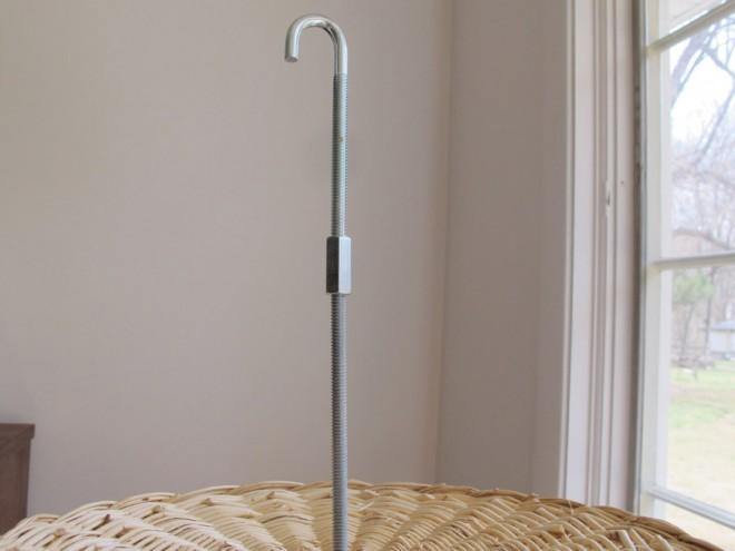 Assembling a hook for the modern bird feeder.